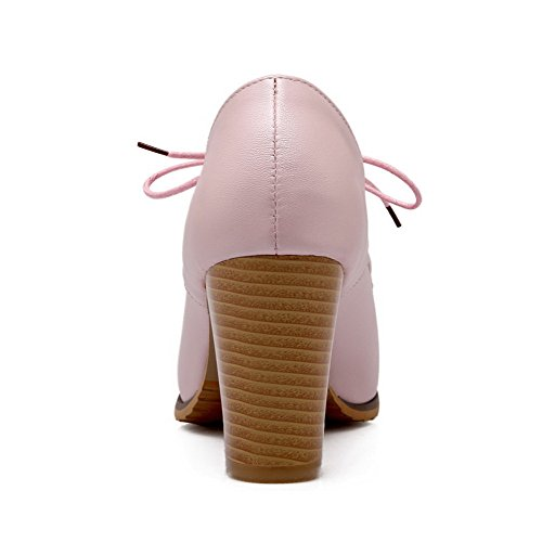 VogueZone009 Damen Pu Leder Rein Schnüren Rund Zehe Hoher Absatz Pumps Schuhe Pink