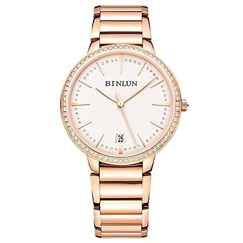 Binlun Elle et Lui Cadeau Amant montres étanche Doré ultrafin automatique montre pour homme avec date