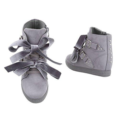 Ital-Design Sneakers High Damenschuhe High-Top Keilabsatz/Wedge Keilabsatz Reißverschluss Freizeitschuhe Grau