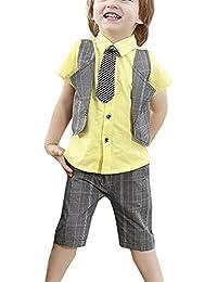 iBaste Traje de Camisa Boy pantalones de Gris Muchachos Camiseta cortos Pantalones cortos del verano