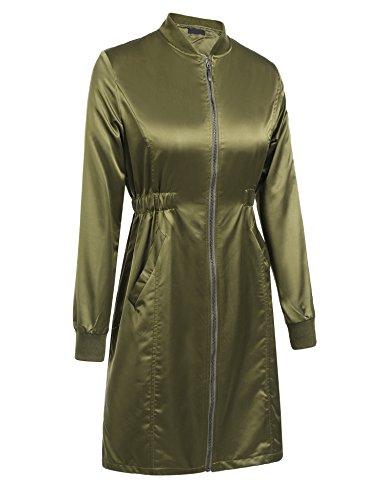 Finejo Damen Regenjacke Regenmantel Übergangsjacke Wasser Winddicht Stehtkragen Jacke Winterjacke Mantel mit Reißverschluss Armee-Grün