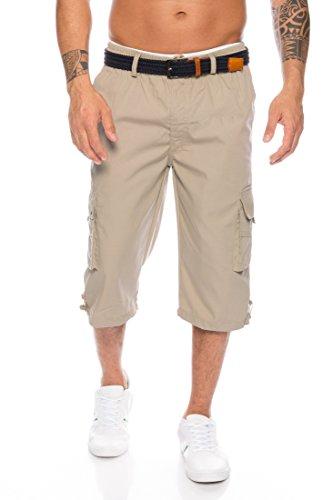 Letyna Herren 3/4 Cargo Shorts mit Dehnbund - mehrere Farben ID575, Farbe:Beige, Größe:3XL