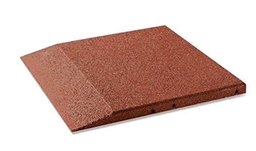 Plaque bord pour cas protection, fond carrelage 50 x 50 x 8 cm en caoutchouc, rouge