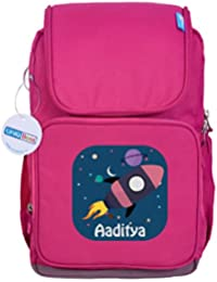 UniQBees Personalised School Bag With Name (Smart Kids Large School Backpack-Pink-Rocket Galaxy)
