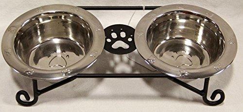 Hand Crafted & American Made! Schmiedeeisen Kleine Hunde Futterstation mit Fressnäpfe aus Edelstahl Inklusive-Hand Hergestellt von amischen von Lancaster County ( -