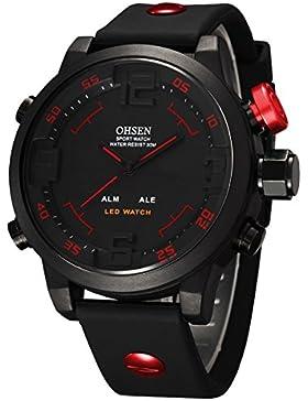 Alienwork DualTime LED Analog-Digital Armbanduhr XXL Oversized Uhr Multi-funktion schwarz Polyurethan OS.AD2820-4