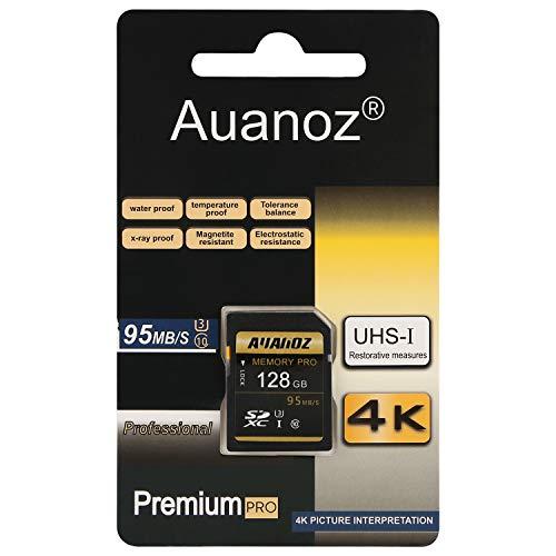 Auanoz TF-Speicherkarte 128GB, Ultra Klasse 10 UHS-I High Speed Speicherkarte Geeignet für Kameras und CamcorderU3,Bis zu 95 MB/s,Klasse 10.(Schwarz/Gold-128gb)