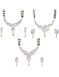 Zeneme American Diamond Gold Plated Mangalsutra Combo Set of 3 with Chain for Women