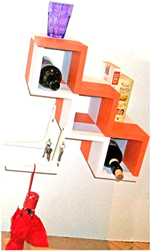 mensola portabottiglie in legno colorato o tavolino poggiapiedi pouf scaffale libreria cameretta bambini cucina appendino pensile mobile