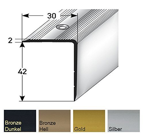 Aluminium Treppenwinkel-Profil - 135cm, 42x30mm, bronze-dunkel ✓ Rutschhemmend ✓ Robust ✓...
