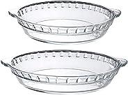 MDLUU Glass Baking Dish, Glass Pie Plate with Handles, Baking Pie Pan