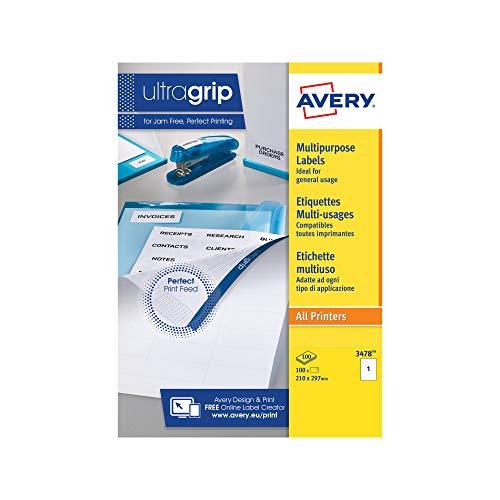 Avery Zweckform 3478 Universal Etiketten A4 (mit ultragrip, 210x297 mm, 100 Blatt, Papier matt, bedruckbar, selbstklebend, 100 Klebeetiketten) weiß