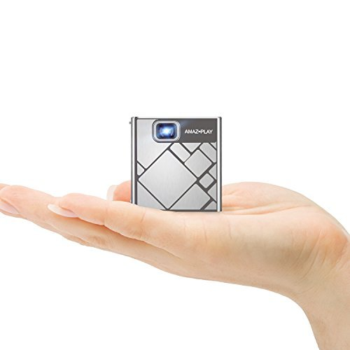 AmazPlay Mobile DLP Pico Projector - Portable Mini Pocket Cube Design Multimedia Video LED Gaming Projectors with 120 Display, 30,000-Hour LED, Can Be Charged by Power Bank