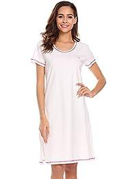 aaf9ce0152 Damen Nachthemd Baumwolle Kurzarm Rundhals Nachtwäche Rundhals Sleepwear  Nachthemden Sommer Knopfleiste mit Taschen Hausanzug A Line