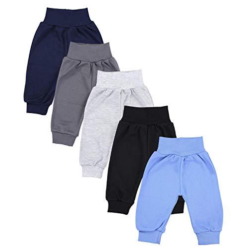TupTam Unisex Baby Pumphose Jersey Schlupfhose 5er Pack, Farbe: Junge 5, Größe: 74