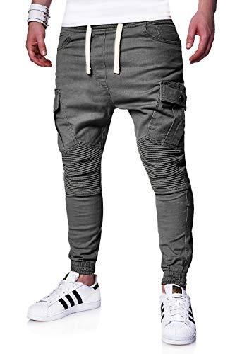 behype. Herren Cargo Biker Jogger-Jeans Hose mit Taschen Slim-Fit S-XXL 80-6722 Dunkelgrau M Mens Jogger