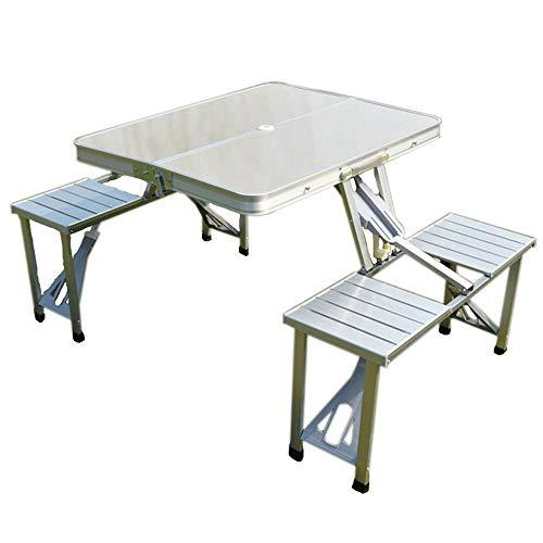 CHENGGUO Table et chaises Se Pliantes épaissies par Morceau d'alliage d'aluminium extérieur argenté, Table Mobile de publicité de Tableau de Barbecue de Pique-Nique