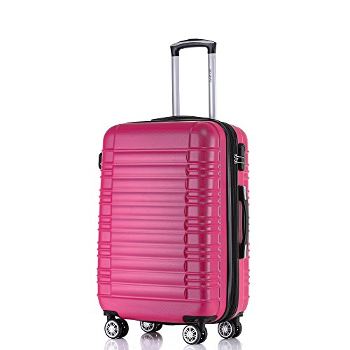 BEIBYE 2088 Zwillingsrollen Reisekoffer Koffer Trolleys Hartschale M-L-XL-Set in 13 Farben (Peach, XL)