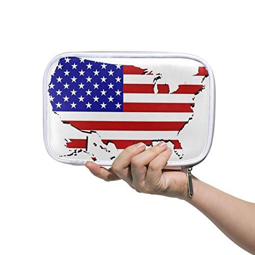 Montoj Federmäppchen mit großer Kapazität, US Karten, Make-up-Pinsel, Organizer-Tasche aus Leder (Große Us-karte)