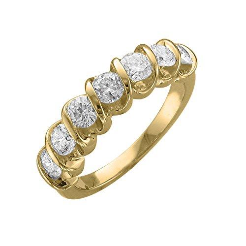 Diamond Delight da donna 18 K, 7 canali di pietra, SI1-Anello nuziale SI2, 1 k) e Oro giallo, 13,5, cod. RG25638-SI1SI2-18KY-7