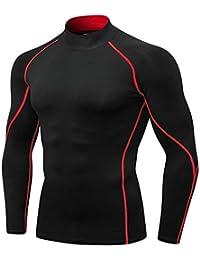 Guiran Hombre Camiseta De Compresión De Manga Larga Térmica Secado Rápido  para Deportivos Rojo M 16fa2705e4ebd