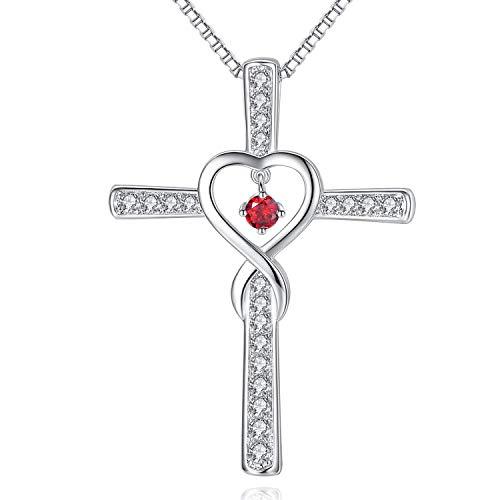 Dream hope fede infinity love croce collana in argento sterling con birthstone, regalo per il compleanno, san valentino.