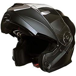 Qtech Casque Modulable Pare Soleil Interne - Moto Scooter - Noir Mat - S (55-56cm)