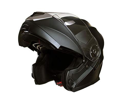 Qtech Casco MODULARE per Moto con Integrale Doppia Visiera - Nero Opaco - S (55-56cm)