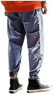 Irypulse Jeans Uomo Strappati Fori Strappati Pantaloni a Matita Pantaloni Slim Fit Lavati retrò Multi Tasca Mo