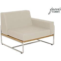 QUEEN GARDEN exklusives Loungemodul Baro Armlehne links ausgerichtet, Sessel aus hochwertigem Edelstahl und FSC Teakholz, inkl. Auflage in taupe, ca. 85 x 85 x 72 cm, Kissenbezug waschbar