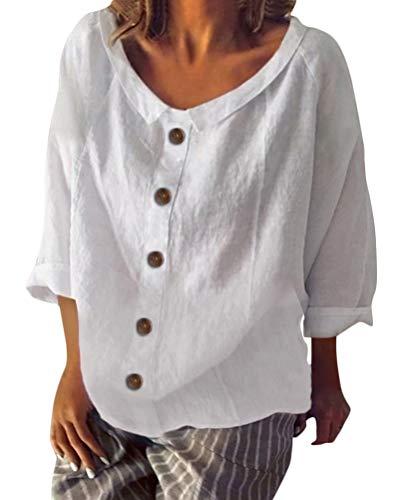 Shallood Minetom Damen Sommer Elegante Leinen Einfarbig Kurzarm T-Shirt 3/4 Arm Tunika Blusen V Ausschnitt Leicht Asymmetrisch Shirt mit Knopf B Weiß DE 36 -