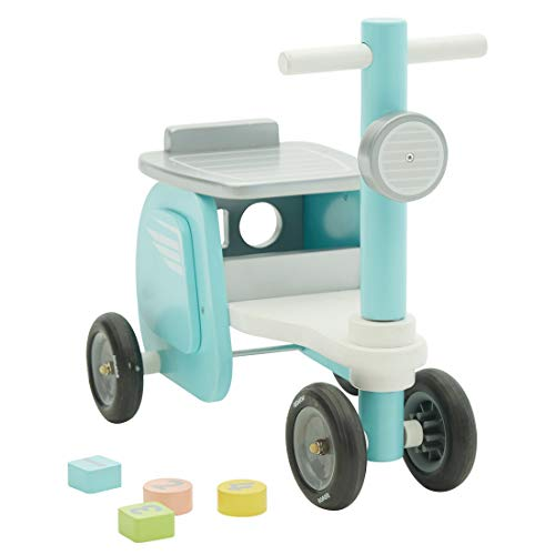 Chariot Enfant, 3-en-1 Utilisation comme Trotteur Enfant, Moto Bleu Trotteur Bois pour 1 An et Plus,coffre à jouets Trotteur Bébé Garçon/Chariot Bois/Trotteur Pousseur Bébé/Chariot Marche (Bleu)