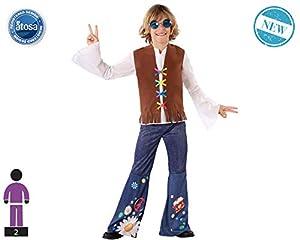 Atosa-60104 Atosa-60104-Disfraz Hippie-Infantil NIño, Color marrón, 10 a 12 años (60104
