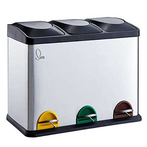 SVITA Mülleimer Müll-Trenner Tret-Eimer Recycle Abfall-Sammler Mülltonne Abfall-Tonne 45 Liter (3 x 15L)
