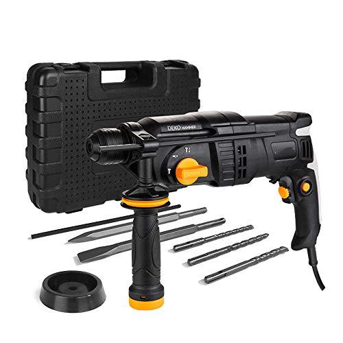 QWERTOUY 220V 26mm 4 Funktionen AC Elektro-Bohrhammer mit BMC und 5pcs Zubehör Schlagbohrmaschine Bohrmaschine Bohrmaschine,A