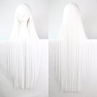 Womens Ladies Girls 100cm White Color Long Straight Wigs High Quality Hair Carve Cosplay Costume Anime Party Bangs Full Sexy Wigs