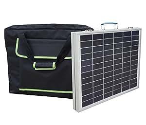 ECO-WORTHY 50W 12V panneau solaire pliable portatif polycristallin avec la valise solaire ext¨¦rieure de sac ¨¤ main pour le chargeur de batterie de 12 volts