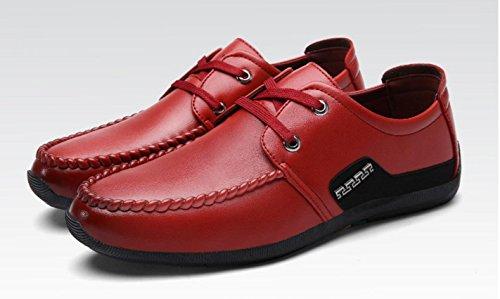 Frühling und Herbst neue feste Farbe Spitze Business Schuhe Männer Casual Schuhe wine red