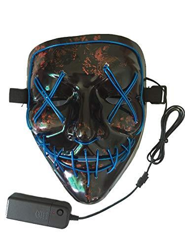 Neusky LED LEUCHT Maske, 3 Verschiedene Blinkmodi Elektronik Maske, Party Leuchtmaske (Schwarz-Blau)
