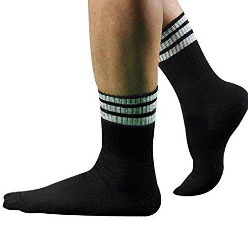 Kurze Socken Herren Kolylong 1 Paar Männer Herren Fußball Gestreift hohe Socken Eishockey (Schwarz) (Schwarz Fußball-socken Gestreiftes)