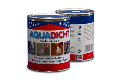 Aqua Dicht Reparatur - Faserdichtmasse 1 Liter Dose transparent - Dichtet sofort bei jedem Wetter