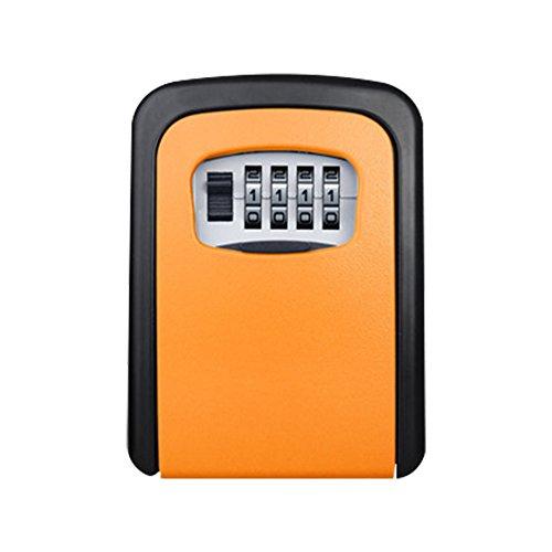 _ Quemu Co.,Ltd. Schlüssel Lock Box Sicherheit Haus KFZ Schlüssel Karte Geld U Disk Storage Wandmontage, Aluminiumlegierung, Orange (Storage Lock-boxen Key)