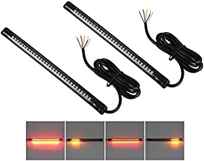 Andride Universal Flexible LED Motorcycle Brake Lights Turn Signal Light Strip 32 LEDs License Plate Light Flashing Tail Stop Lights (Set of 2)