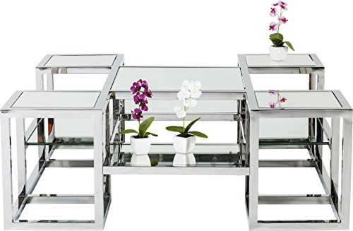Kare Design - Table Basse Plateau Miroir en Verre Chrome Steps