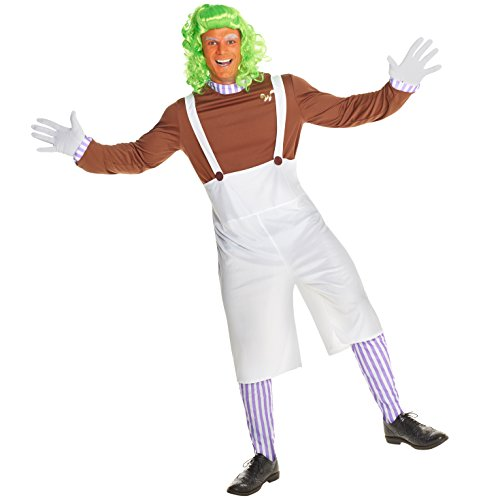 Zwergen Schokolade Arbeiter Musical Oompa Loompa Kostüm Karneval - Groß (42-44 Zoll / 107-112 cm Brust)