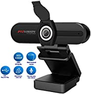 PTZVISION Webcam, HD webcam 1080p with cover, webcam for PC,desktop,laptop with built-in Mic. It is a Plug and