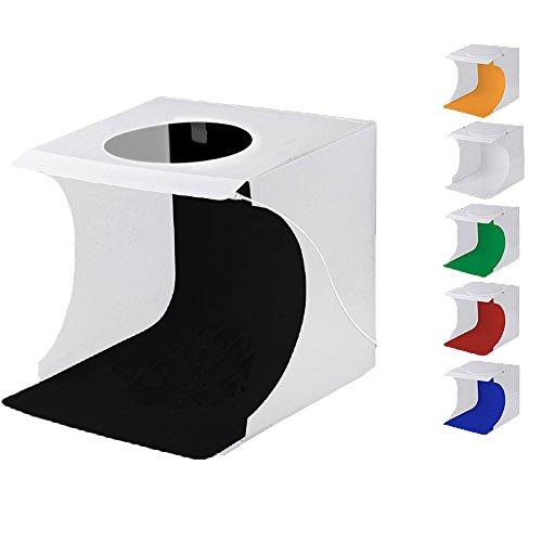 Mini Portable Lichtzelt Faltbare Fotozelt Fotostudio Set Fotografie Studio Light Box Kit Foto Studio Schießen Zelt mit LED Leuchte (20cm x 20cm (2 LED-Lichtleisten))