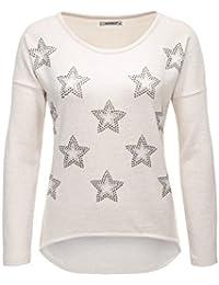 538275d0527178 Hailys Damen Langarmshirt Longsleeve Glitter Print Pullover Pulli Feinstrick