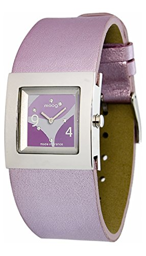 Moog Paris Harmony Women's Watch with Purple Dial, Purple & Black Genuine Leather Strap & Swarovski Elements - M41353-102