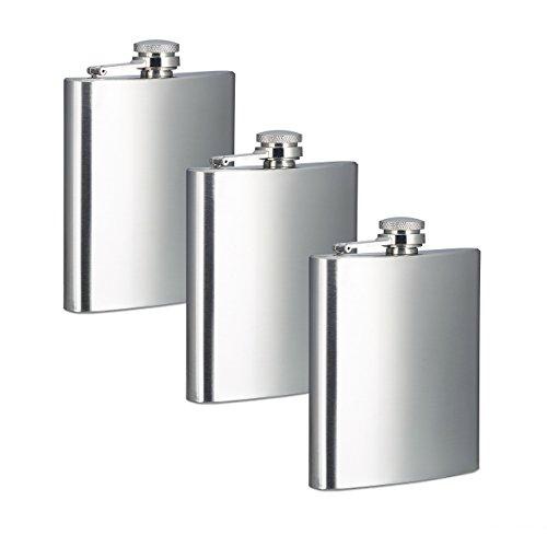 3 x Flachmann im Set, 200 ml, Edelstahl, 7 oz, Taschenflachmann mit Schraubverschluss, Silber